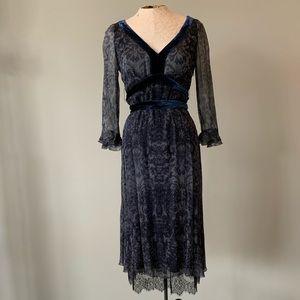 Elie Tahari Blue Gray Long Sleeve Dress